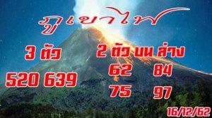 """งวดประจำวันที่ 16 ธันวาคม 2562 """"หวยภูเขาไฟ""""มาแล้วงวดนี้"""