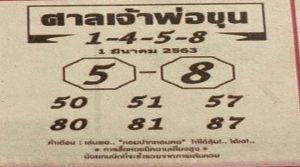 """งวดประจำวันที่ 1 มีนาคม 2563""""หวยศาลเจ้าพ่อขุน""""รวยแน่นอน"""