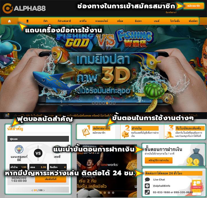 หน้าหลักของเว็บ ALPHA88